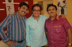 Taarak Mehta and Jethalal posing with Vinay pathak on the sets of 'Taarak Mehta ka OOLTAH CHASHMAH'