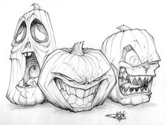 halloween drawings Jack o lantern trio drawing Drawing Sketches, Art Sketches, Drawing Ideas, Drawing Drawing, Black Pen Drawing, Drawing Pictures, Figure Drawing, Tattoo Drawings, Art Drawings