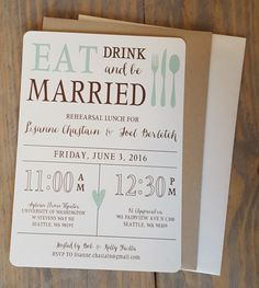 eat drink and be married wedding invitations