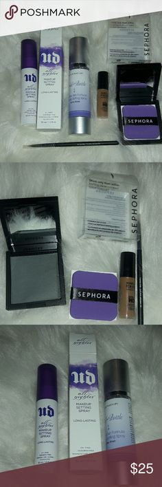 UD makeup setting spray and other things Hey dolls, I'm selling this little bundle that include 5 brand new never used goodies. 2 setting sprays, 1 authentic urban decay and another x brand, a Sephora blotting compact, 1 makeup forever travel size foundation, and a Sephora eyeliner (works amazing to make precise lines thin or thick) comment below if you have any questions. Thanks for stopping by 💗 Urban Decay Makeup Brushes & Tools