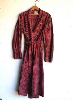 vintage plaid cotton robe holiday robe gift by kateblossom on Etsy