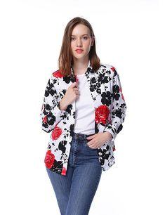 998363810d98fb Women Floral Print Button Down Shirts Long Sleeve Shirt Blouse - Black -  CH185OS4M2I