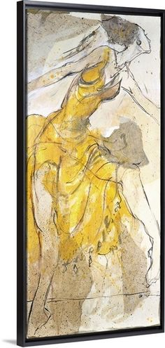 "Dancer in Yellow by Marta Wiley. 27""x60"" (70x150cm). Floating Frame. $389.99."