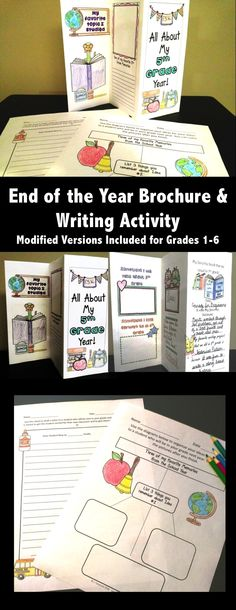 End of the Year Activities Students make a Brochure to Reflect on their School Year and Organize and Complete a Writing Activity