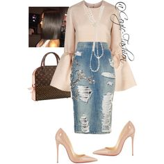 A fashion look from August 2017 featuring Roksanda tops, Christian Louboutin pumps and Chanel necklaces. Browse and shop related looks. Fashion Mode, Modest Fashion, Look Fashion, Runway Fashion, Autumn Fashion, Girl Fashion, Womens Fashion, Fashion Trends, Classy Outfits