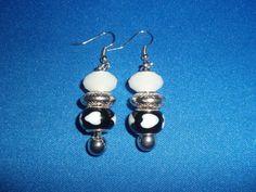 Heart Earrings Black & White Heart Euro Bead Dangle by DaKsJewelry