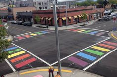 Rainbow crosswalks in downtown Kelowna. According to the city, the newly painted crosswalks are a visual demonstration of the community's spirit of inclusiveness.