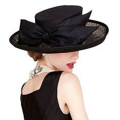 689239a7b4072e HomArt Women's Big Bow Wide Brim Sun Hat Beach Wedding Church Kentucky  Derby Triple Crown of