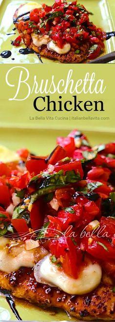 Superb BRUSCHETTA Chicken bursting with fresh summer flavors! Italian Bella Vita Cucina #tomato #tomatoes #bruschetta #grill #chicken #poultry #italian #balsamic #cheese #recipe #healthy #light #summer Parmesan Orzo, Grilled Chicken Parmesan, Best Italian Recipes, Unique Recipes, Easy Dinner Recipes, Favorite Recipes, Dinner Ideas, Tomato Bruschetta, Bruschetta Chicken