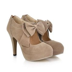 nude / taupe bow heels (even cute with tights!)