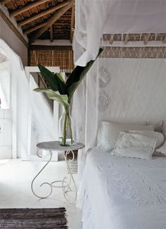 Bohemian Design Bedroom #white #linens #bamboo
