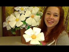 ▶ How To Make Diaper Flowers - YouTube  These look like way to much fun...of course im gonna give it a go..who would'nt....