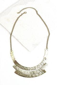 Brass bib statement necklace