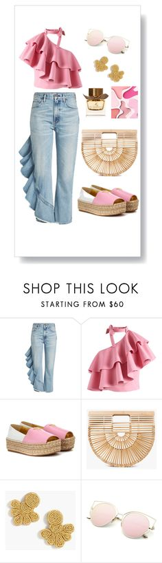 """Out for lunch 💅🏼"" by asoolina ❤ liked on Polyvore featuring Citizens of Humanity, Chicwish, Prada, Cult Gaia, J.Crew and Burberry"