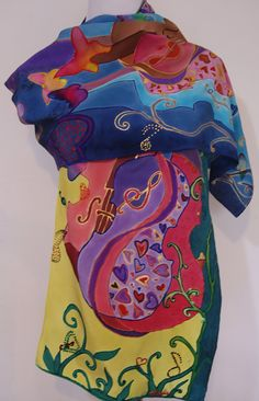 Hey, I found this really awesome Etsy listing at https://www.etsy.com/listing/250585433/violin-silk-scarf-butterflies-pastel