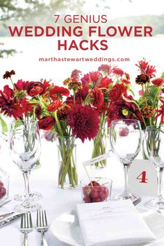 7 Genius Wedding Flower Hacks | Martha Stewart Weddings - Love peonies but don't have the budget? Want centerpieces that double as favors? From using plants and fruit instead of flowers to going faux, here's how to save time, money, and your sanity when picking wedding flowers.
