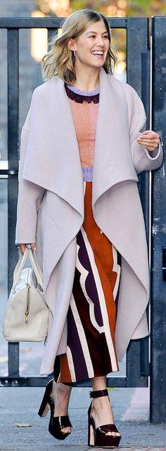 Rosamund Pike wearing Nicholas Kirkwood and Roksanda