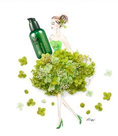 Commissioned work for Innisfree Green Tea Seed Serum. My Flower, Flower Art, Floral Artwork, Innisfree, Seeds, Photo And Video, Green, Instagram, Art Floral