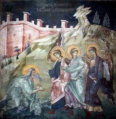Byzantine Icons, Byzantine Art, Tempera, Fresco, Abraham And Sarah, Church Interior, Orthodox Icons, Mural Painting, Statues