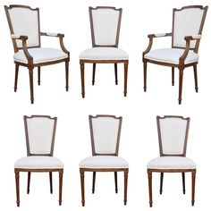 Set Of Six Walnut French Country Louis XVI Style Upholstered Dining Room Chairs