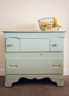 Adorable Dresser Fit For A Nursery! Chalk Pained Yellow then Duck Egg Blue and distressed! Babies room!