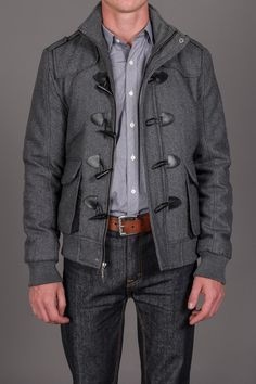 X-RAY JEANS Quilted Wool Jacket w/ Toggles & Removable Hood