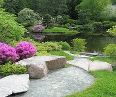 Asticou Azalea Garden, Mount Desert Island, ME 12 of 17   Modeled in the Japanese garden style, this serene enclave just outside the entrance to Acadia National Park captures a happy marriage of East and West. Native azaleas grow alongside related species hailing from the mountainous regions of Japan, while an area of raked sand and stones—reminiscent of a traditional Zen garden—mimics the flow of a stream winding through the property to placid Asticou Pond. Created by local Charles K…