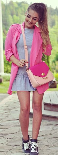 Pink And Grey Spring Style #Fashionistas