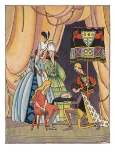 Illustration From Cinderella Of Prince Putting Slipper On Cinderella by Lois Lenski
