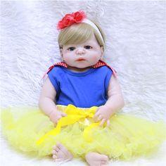 84.85$  Buy here - http://ali93z.shopchina.info/go.php?t=32807307448 - 55cm Full Body Silicone Reborn Baby Doll Toys Lifelike Baby-Reborn Princess Doll Child Birthday Christmas Gift Girls Brinquedos 84.85$ #magazineonlinebeautiful
