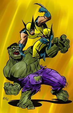 Hulk vs Wolverine by Bruce Timm colored by Matt Flaherty Comic Art Marvel Comic Universe, Marvel Comics Art, Marvel Heroes, Comic Book Superheroes, Comic Books Art, Comic Art, Marvel Comic Character, Character Art, Character Design