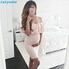 6b2cf890877 Těhotenství Ženy Oblékání Fotografické rekvizity Maxi oblečení Materství  Off rameno Princezna Ošetřovatelské šaty Shoot Plus velikost šaty