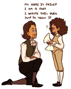 "stegosaur: "" [Image description: There are five digital drawings of Hamilton kneeling down and young Philip reciting his poem from the song ""Take a Break"". In the last drawing both Hamilton and Philip. Alexander Hamilton, Phillip Hamilton, Hamilton Musical, Hamilton Broadway, Theatre Nerds, Musical Theatre, Fandoms, Hamilton Fanart, Hamilton Poster"