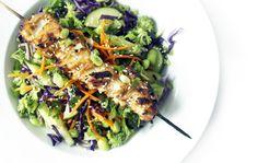 Cold soba and satay chicken salad