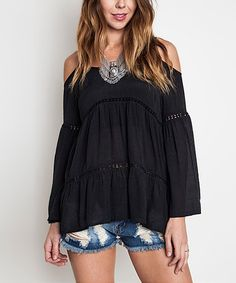 Another great find on #zulily! Black Off-Shoulder Peasant Top #zulilyfinds