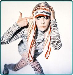 Model Peggy Moffitt I like the fabric and the graphic prints