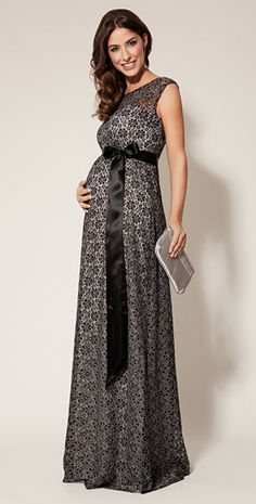 Daisy Maternity Gown Long (Black and Silver) by Tiffany Rose