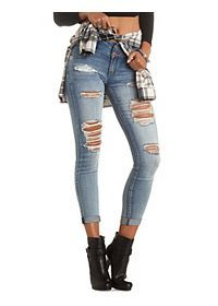 "Refuge ""Mid-Rise Skinny"" Destroyed Jeans"