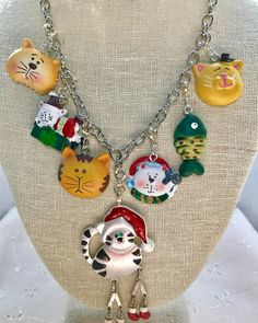 Christmas Cats Kittens Vintage Silver Chain Assemblage Upcycled Necklace Doodaba by doodaba on Etsy Santa Boots, Christmas Necklace, Christmas Cats, Vintage Silver, Cats And Kittens, Upcycle, Dangles, Buy And Sell, Chain