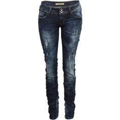52Z Damen Jeans Abgefärbt Zerknittert Enganliegend Denim 34 42 Neu ❤ liked on Polyvore