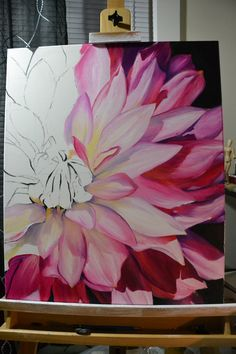 Dahlia half done, oil painting, pink and yellow, large flower painting