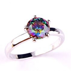 Jewelry MultiColor Crystal Rainbow Created Zircon Plated Silver Ring Size 6 7 8 9 10 11 12 Free Shipping Wholesale #Affiliate
