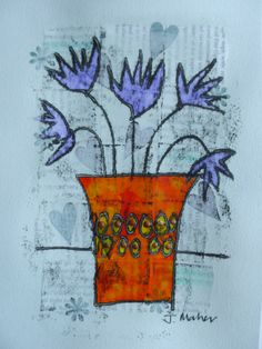 Blue flowers orange vase. Monoprint over collaged and gesso'd background, painted and embellished