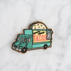 TR00065 Taco Food Truck - Iron On Patch - Patches - Embroidered Applique - Pastel - Aqua - Food - Wildflower + Co. - Solo