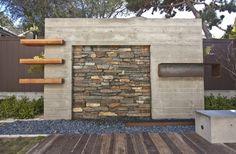 Naturstein Holz Beton Kieselweg minimalistische Architektur
