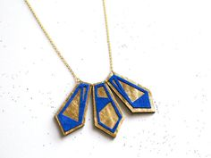 Handmade leather geometric necklace in gold and electric blue / N1