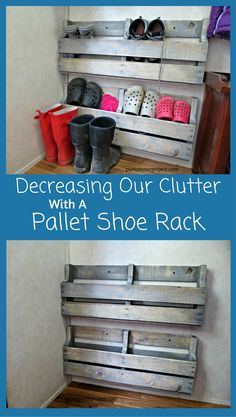 Pallet Furniture Projects decreasing our clutter with a pallet shoe rack Pallet Furniture Bed, Reclaimed Wood Furniture, Pallet Chair, Office Furniture, Bedroom Furniture, Furniture Storage, Diy Bedroom, Diy Pallet Projects, Wood Projects