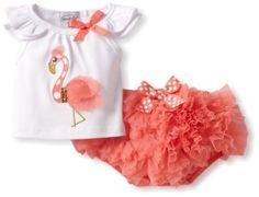 Amazon.com: Mud Pie Baby-Girls Newborn Flamingo Diaper Cover Set: Clothing