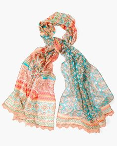 Chico's Women's Tile Striped Printed Scarf