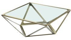 Prizmaas Square Cocktail Table in Brushed Champagne on Stainless Steel base and Clear Glass top
